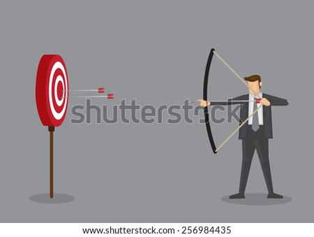 Cartoon businessman with bow and arrow hitting the center bulls-eye in archery target. Conceptual vector illustration isolated on grey background. - stock vector