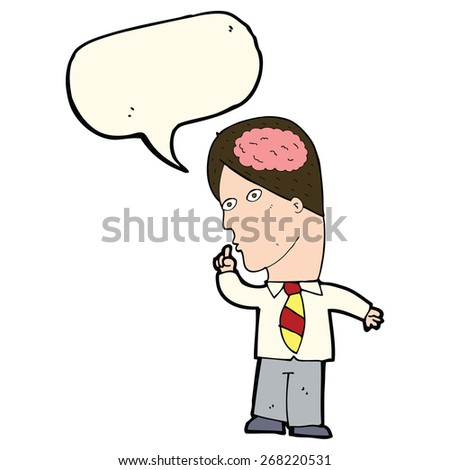 cartoon businessman with huge brain with speech bubble - stock vector