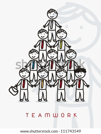 cartoon businessman with tie, teamwork. vector illustration