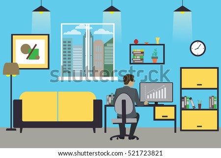 Cartoon businessman working at home or modern office, interior design with furniture,flat vector illustration