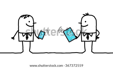 cartoon businessmen connected with digital  tablet and phone - stock vector