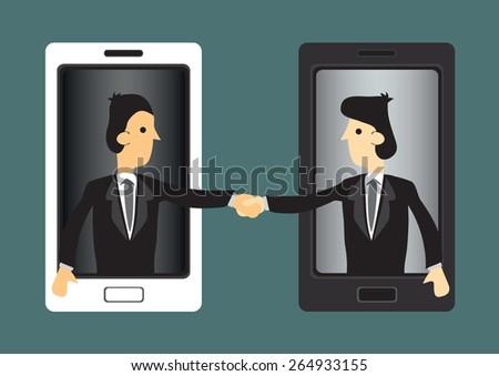 Cartoon businessmen extending hands out of handphone screen for handshake. Concept vector illustration for using new technology in business world. - stock vector