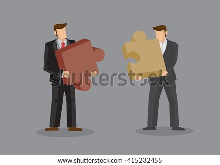 Cartoon businessmen holding large pieces of jigsaw puzzle. Creative vector illustration on business fit concept isolated on grey background. - stock vector
