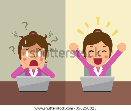 Cartoon businesswoman expressing different emotions - stock vector