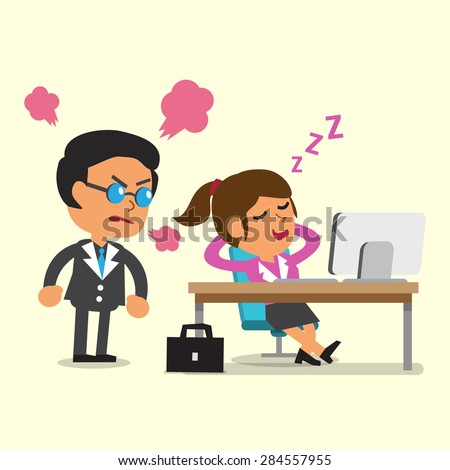 Cartoon businesswoman falling asleep in her office - stock vector