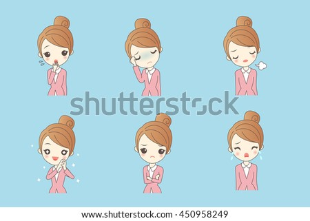 cartoon businesswoman is making variety of expressions - stock vector