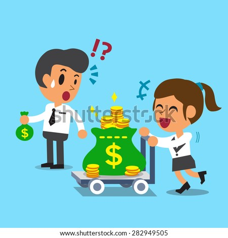 Cartoon businesswoman pushing money trolley and businessman holding small money bag - stock vector