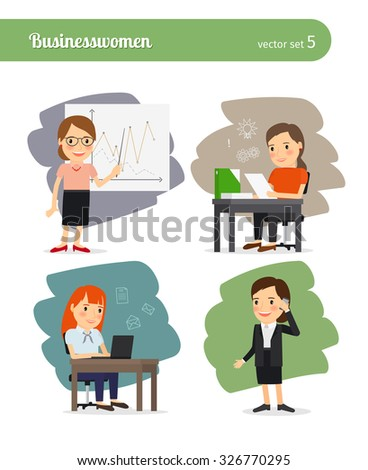 Cartoon businesswoman set. Business presentation and talks on phone, business management and working on laptop - stock vector
