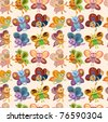 cartoon butterfly icon set seamless pattern - stock vector