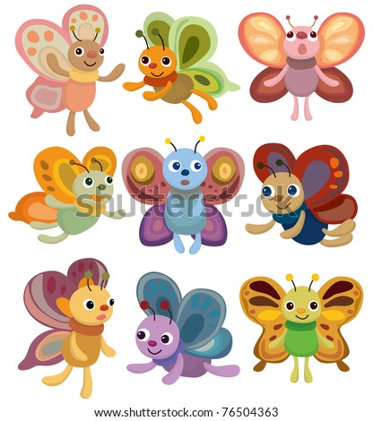 cartoon butterfly set icon - stock vector