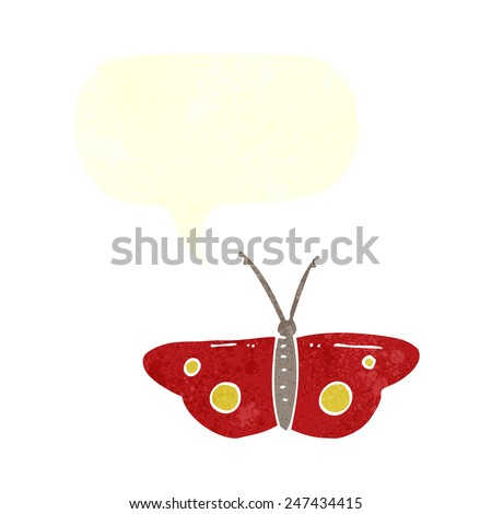 cartoon butterfly symbol with speech bubble - stock vector