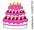 Cartoon cake hand drawing . Vector - stock vector