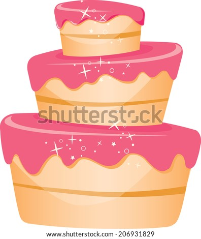 Cartoon cake with pink icing and sparkles three tier tospy turvy design - stock vector
