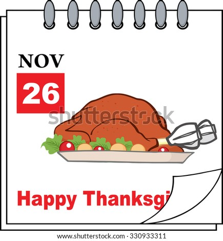Cartoon Calendar Page With Roasted Turkey. Vector Illustration - stock vector