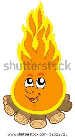 Cartoon camp fire - vector illustration. - stock vector