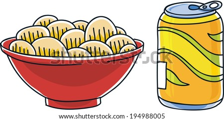 Cartoon can of soda pop and a bag of salty potato chips. - stock vector