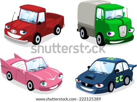 cartoon Car, Bus,  bus, motorbike, truck, race car, wagon and eco car. - stock vector
