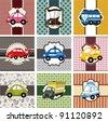 cartoon car card - stock vector