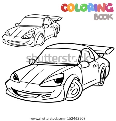 cartoon car character coloring book   - stock vector