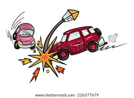 Cartoon car crashed into a lamppost. Isolated on white background. - stock vector