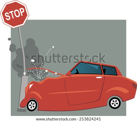 Cartoon car crashed into a traffic sign, vector illustration