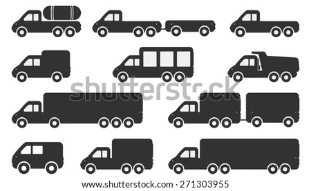 Cartoon Car Icons Silhouetted. Black Symbols Pick-up Truck - stock vector