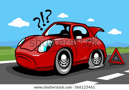 Cartoon car on the road with a flat tire. Vector illustration - stock vector