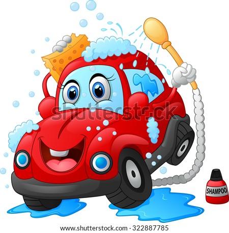Cartoon car wash character - stock vector