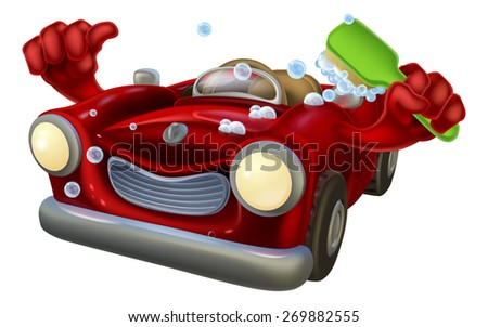 Cartoon car wash character covered in bubbles giving a thumbs up and scrubbing himself with a cleaning brush - stock vector