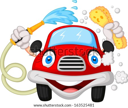Cartoon car washing with water pipe and sponge  - stock vector