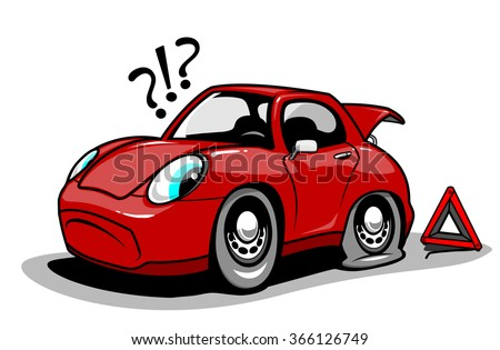 Cartoon car with a flat tire. Vector illustration - stock vector