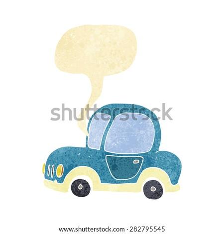 cartoon car with speech bubble - stock vector