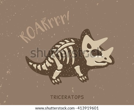 Cartoon Card With A Triceratops Skeleton And Text Roar Fossil Of Dinosaur