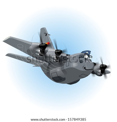 Cartoon Cargo Airplane. Available EPS-10 vector format separated by groups and layers for easy edit - stock vector