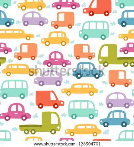 Cartoon cars seamless pattern - stock vector