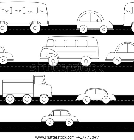 Cartoon cars seamless pattern. Black and white.  - stock vector