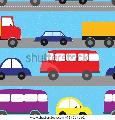 Cartoon cars seamless pattern. Kids background.