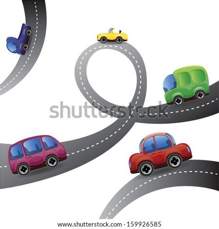 Cartoon cars - vector background - stock vector