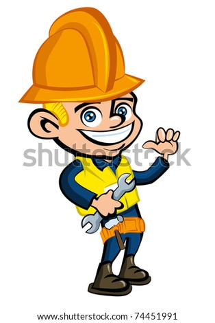Cartoon cartoon of a worker witha hard hat. He is waving - stock vector