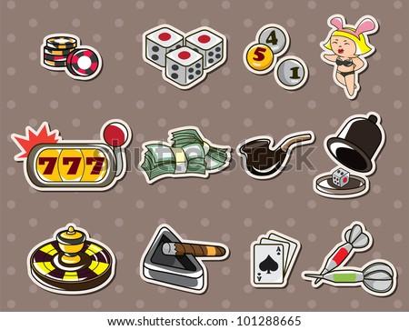 cartoon casino stickers - stock vector