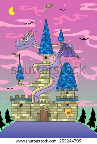 Cartoon castle Illustration/ Vector illustration of a cartoon castle with a dragon, on a fantasy background. fully editable EPS 10 file - stock vector