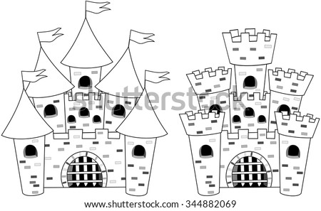 Cartoon castles for colouring book isolated  - stock vector