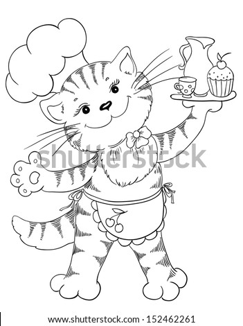 Cartoon cat chef with cupcake and coffee - stock vector