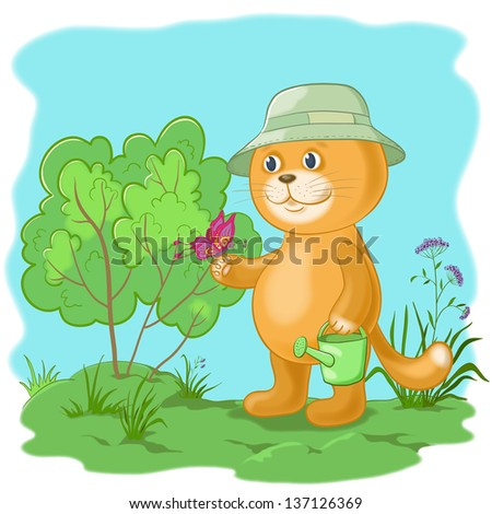 Cartoon, cat gardener with a butterfly in the garden. Eps10, contains transparencies. Vector