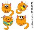 cartoon cat set. playing pet collection - stock photo
