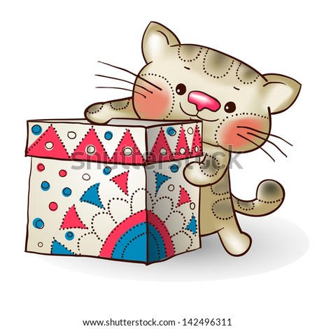 Cartoon cat with a gift.The illustration contains transparency and effects. EPS10 - stock vector
