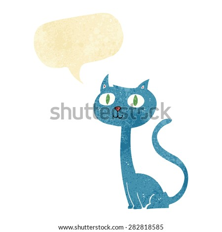 cartoon cat with speech bubble - stock vector