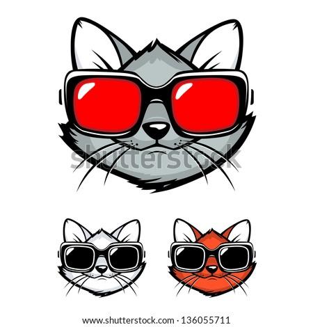 Cartoon cat with sunglasses. Vector Illustration - stock vector