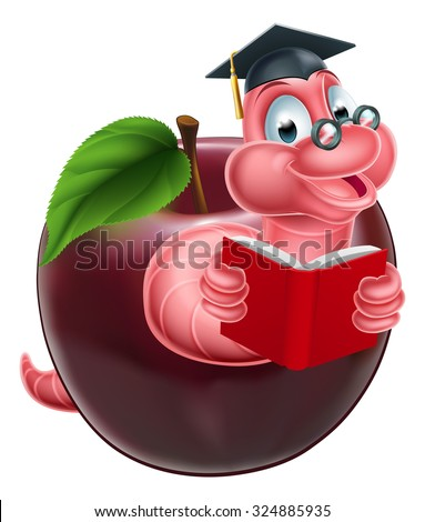 Cartoon caterpillar bookworm worm or caterpillar reading a book and coming out of an apple and wearing glasses and mortar board graduation cap - stock vector