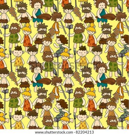 cartoon Caveman seamless pattern - stock vector